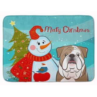 Snowman with English Bulldog Memory Foam Bath Rug