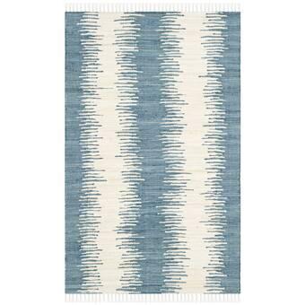 Brayden Studio Telscombe Striped Handmade Flatweave Cotton Blue Ivory Area Rug Reviews Wayfair