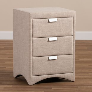 Mauck Fabric Upholstered 3 Drawer Nightstand by Red Barrel Studio