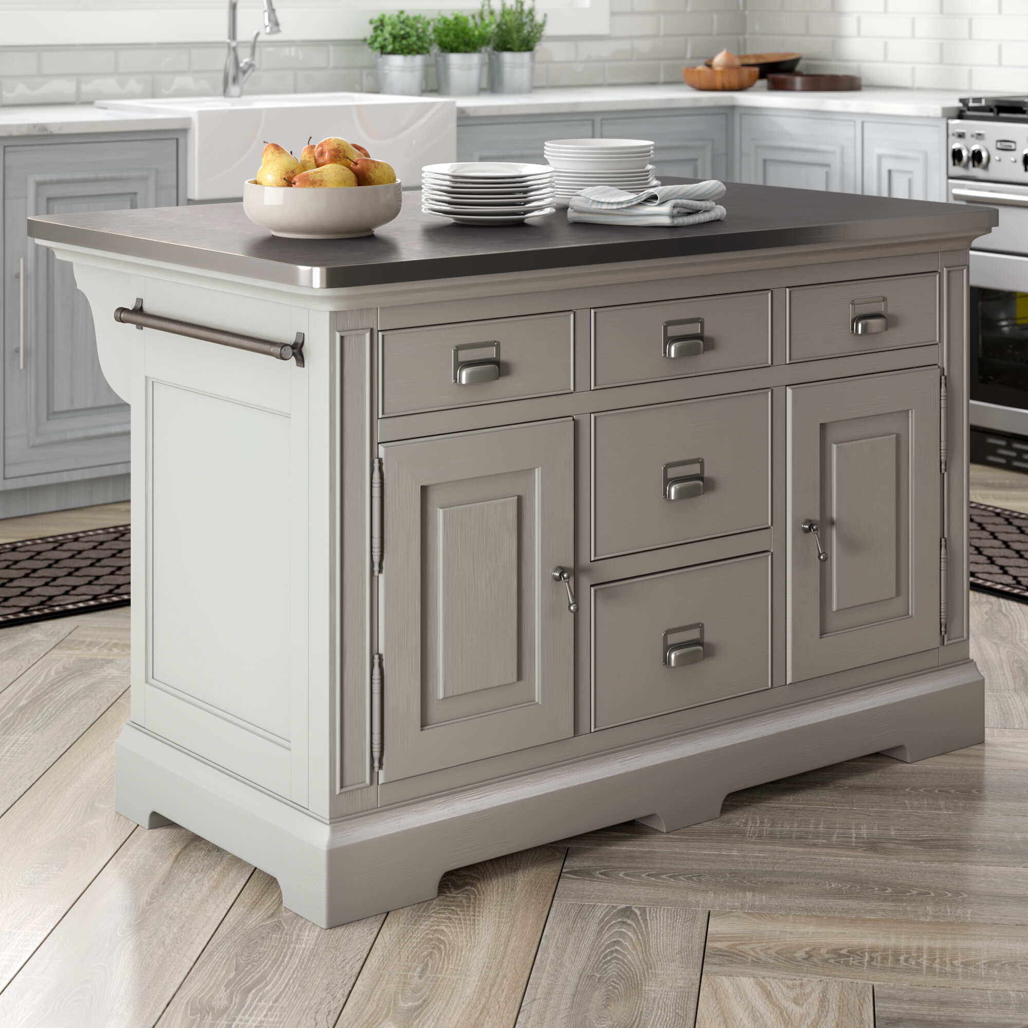 Bailes Kitchen Island Stainless Steel Counter Top