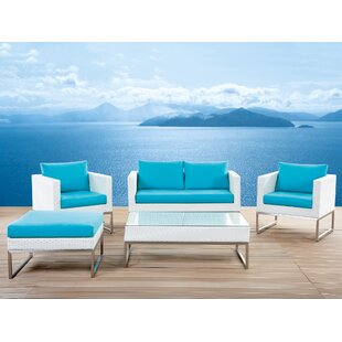 Ingalls 5 Piece Rattan Sofa Seating Group with Cushions (Set of 5)