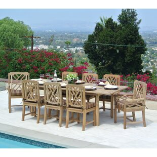 Lorenzo Outdoor 9 Piece Teak Sunbrella Dining Set with Cushions by Longshore Tides