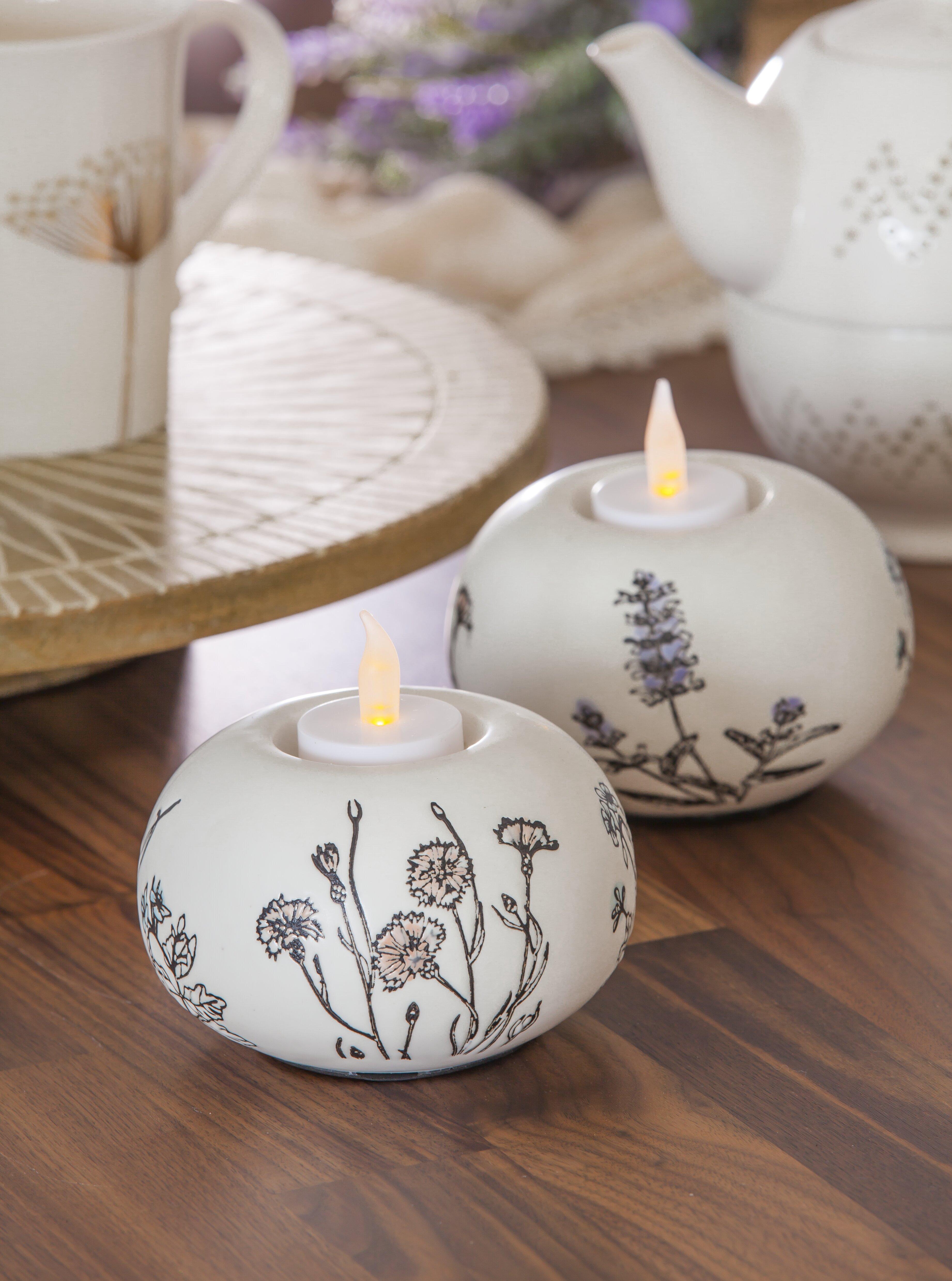 August Grove 2 Piece Round Stamped Botanical Small Ceramic Tealight Holder Set Wayfair Ca
