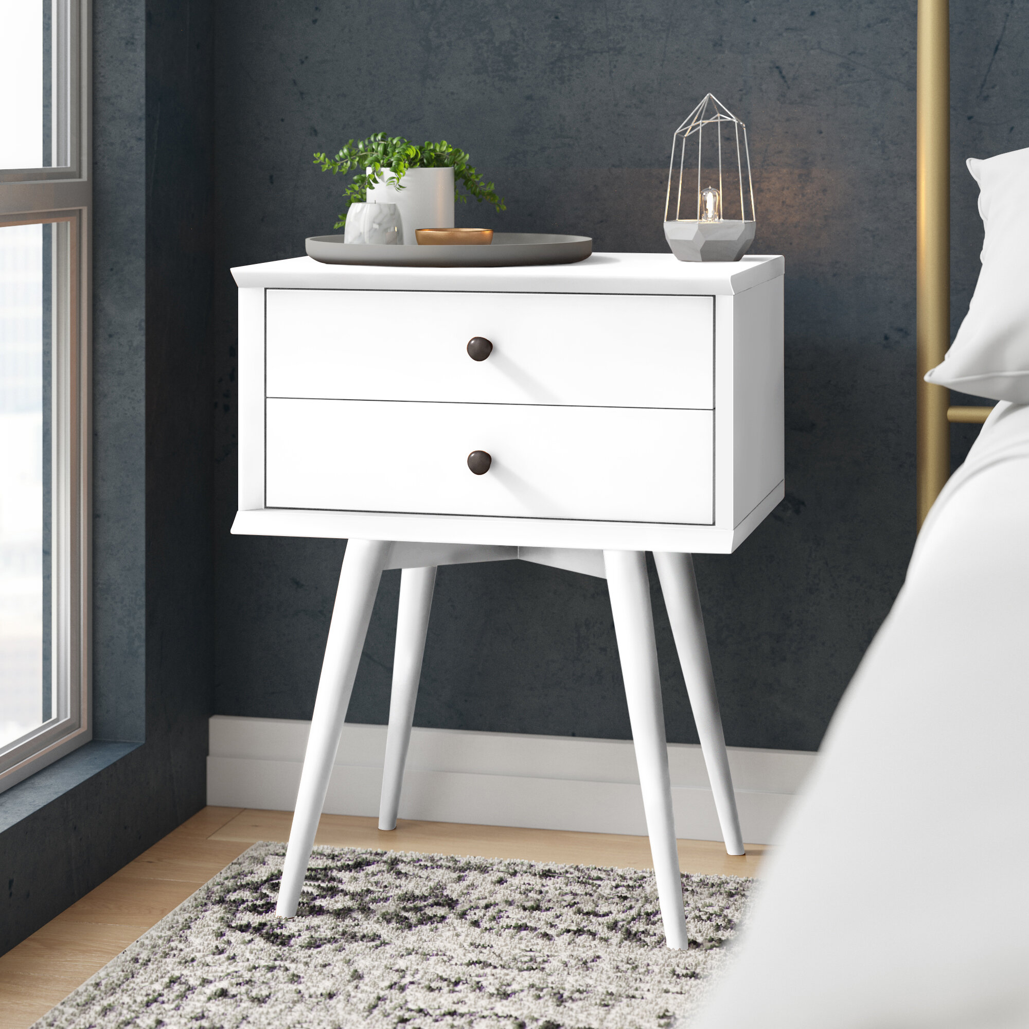 CapsA Mid-Century Side Table Side End Table Nighstand 2-Drawer Nightstand for Bedroom Sturdy and Durable Minimalist Dedside Cabinet Storage Solid Wood Legs Wood Look Decent Furniture