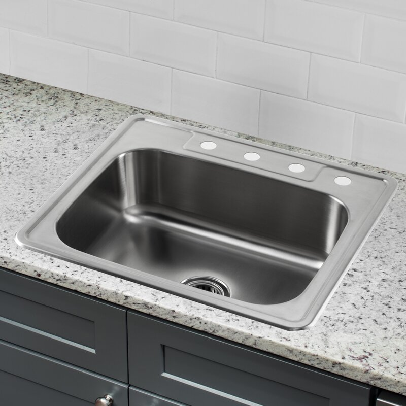 Superb 25 L X 22 W Stainless Steel Drop In Single Bowl Kitchen Sink Complete Home Design Collection Lindsey Bellcom