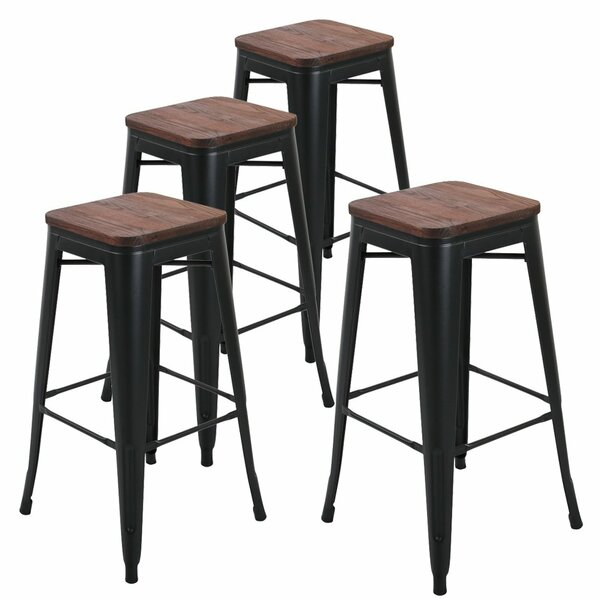 Fantastic Metal Barstool With Wood Seat Wayfair Squirreltailoven Fun Painted Chair Ideas Images Squirreltailovenorg