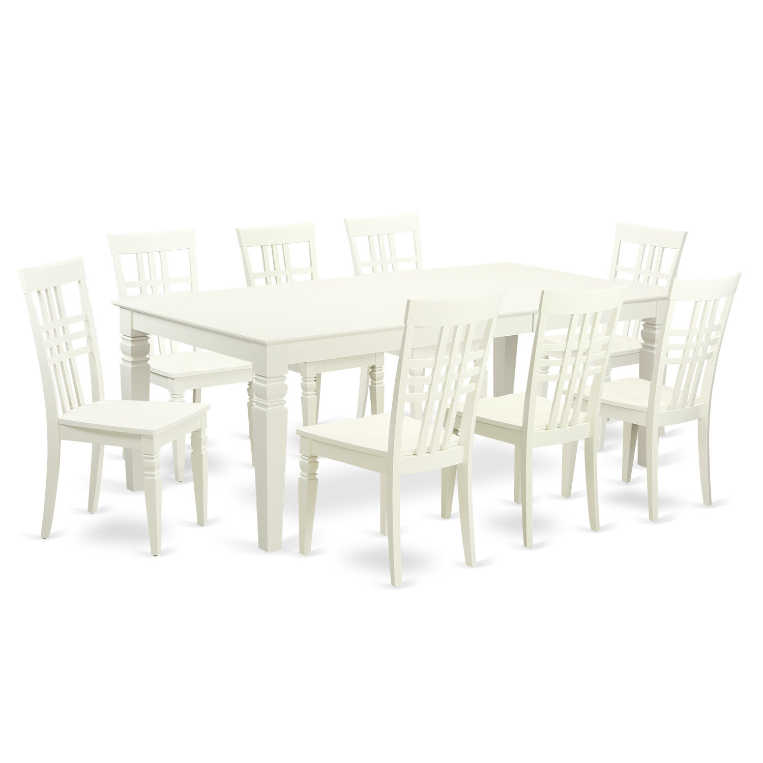 Beau Darby Home Co Beesley 9 Piece Linen White Wood Dining Set | Wayfair