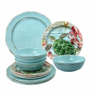 Katelyn Sea Turtle 12 Piece Melamine Dinnerware Set, Service for 4