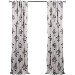 Tugra Damask Blackout Thermal Rod Pocket Single Curtain Panel