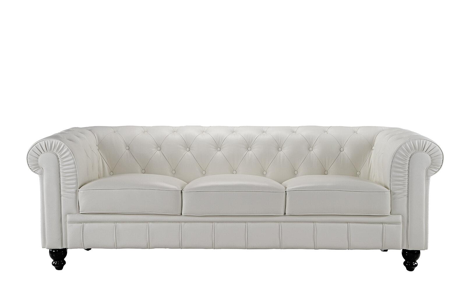 Alpharetta Traditional Chesterfield Leather Sofa