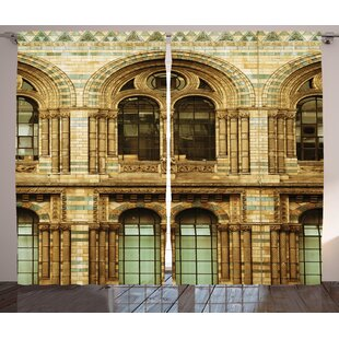 Urban Historical Architecture European City Building in London British Culture Art Photo Print Graphic Print & Text Semi-Sheer Rod Pocket Curtain Panels (Set of 2) by East Urban Home