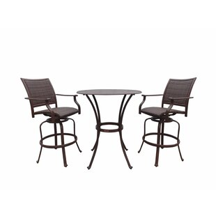 Panama Jack Outdoor Island Cove 3 Piece Bar Height Dining Set