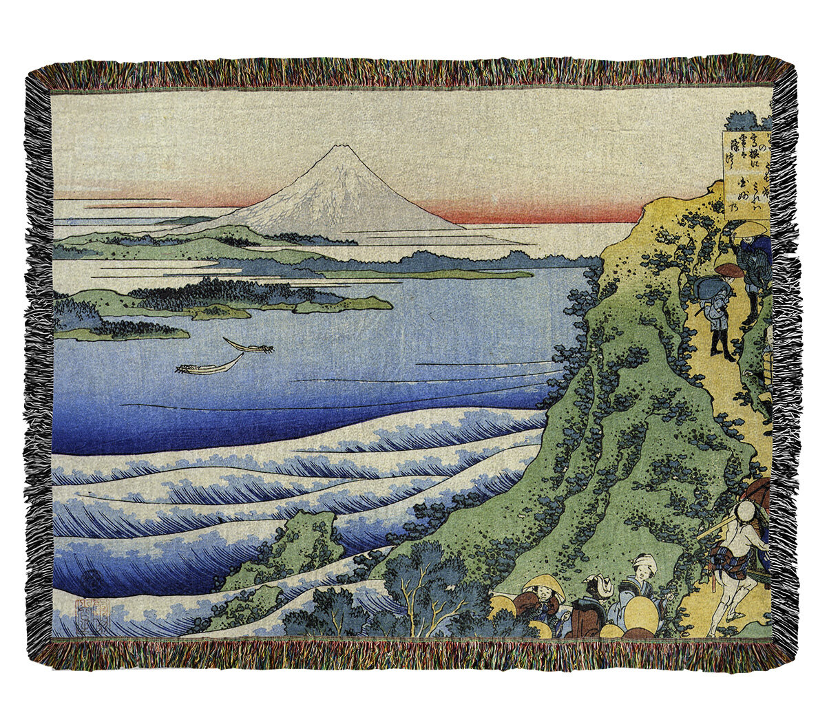 East Urban Home Katsushika Hokusai Travellers Climbing A Mountain Path Cotton Throw Wayfair