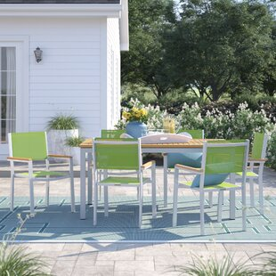 Caspian 7 Piece Powder Coated Aluminum Frame Dining Set by Sol 72 Outdoor
