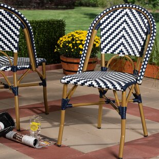 Alaina Classic French Stacking Patio Dining Chair (Set of 2)