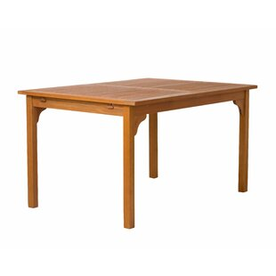 Breisacher Rectangle Eucalyptus Extendable Dining Table