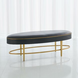 Ellipse Faux Leather Bench by Global Views