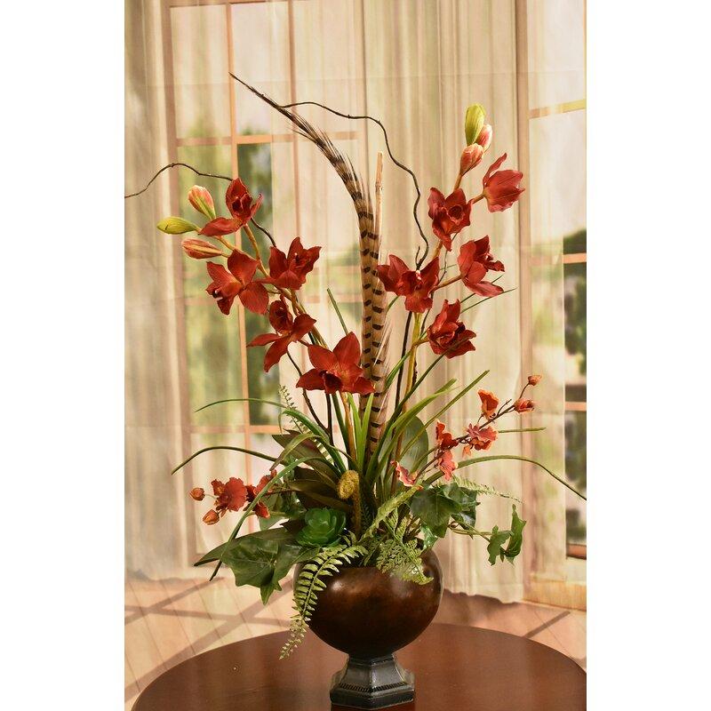 floral home decor orchid floral design wayfair.htm astoria grand cymbidium orchid floral arrangement in vase wayfair  astoria grand cymbidium orchid floral