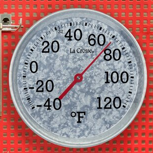 Analog Galvanized Metal Round Thermometer By La Crosse Technology