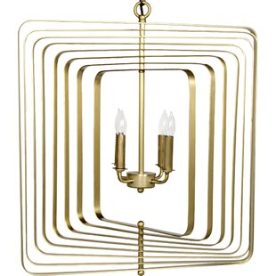 Noir Demaclema 4-Light Square/Rectangle Chandelier
