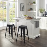 Gabriele Julia Island In White With Amelia Square Metal Stool by Canora Grey