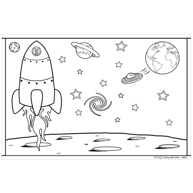Zoomie Kids Colouring Wall Prints Outer Space Dry Erase Whiteboard Wall Decal Drv2 Wayfair Ca