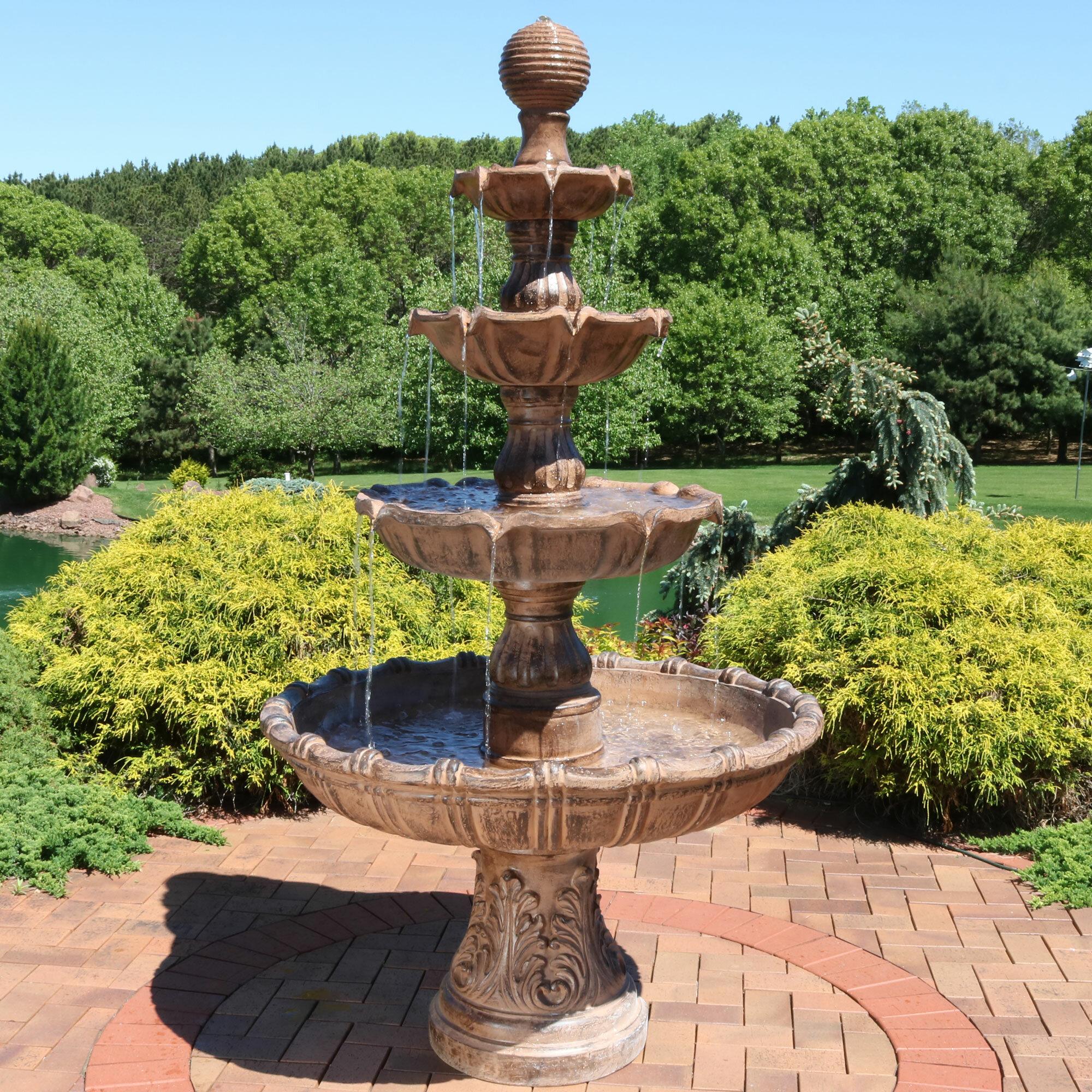 Astoria Grand Dunston Fibergl Resin Large Tiered Ball Outdoor Fountain Reviews Wayfair