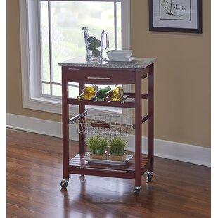 Hauge Kitchen Cart with Granite Top by Wrought Studio