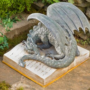 Wind & Weather Dragon on Glowing Storybook Statue