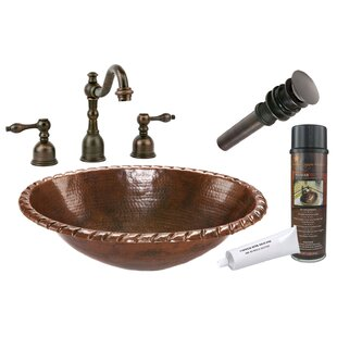 Roped Rim Metal Oval Drop-In Bathroom Sink with Faucet ByPremier Copper Products