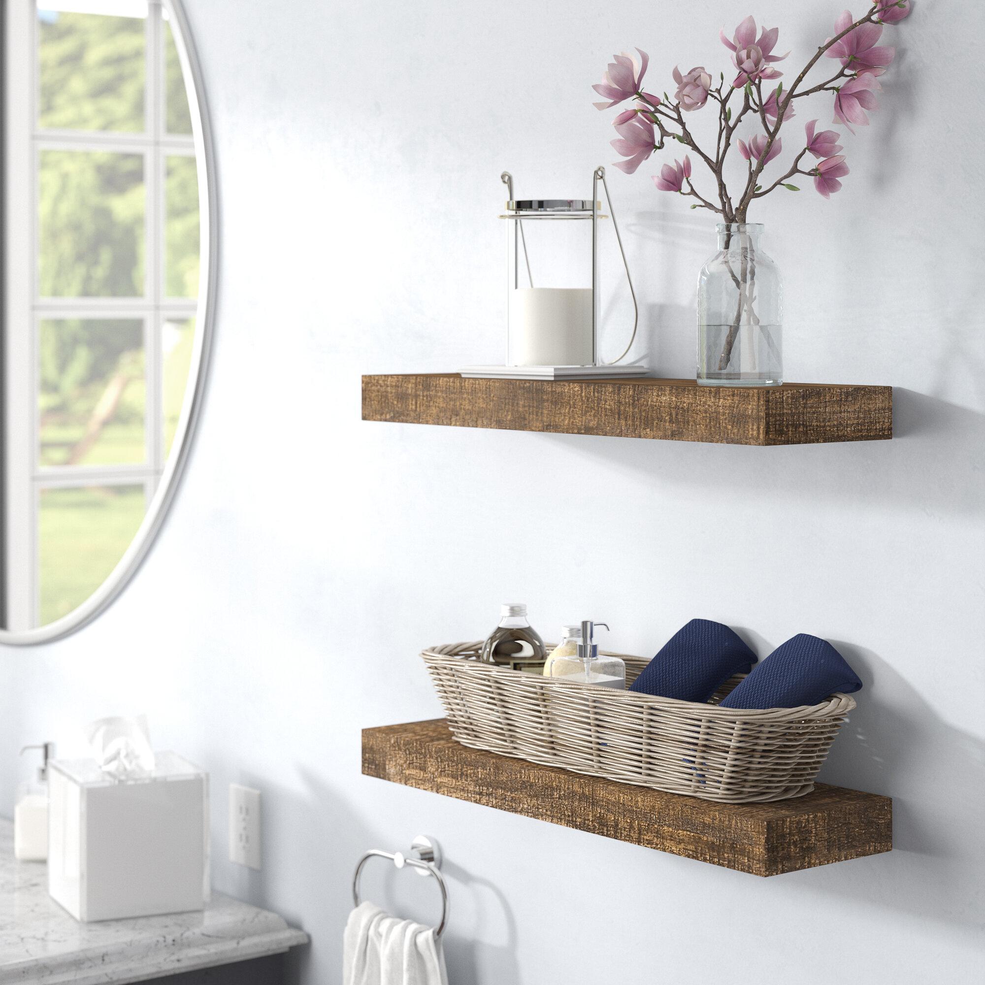 2 Piece Solid Wood Pine Floating Shelf