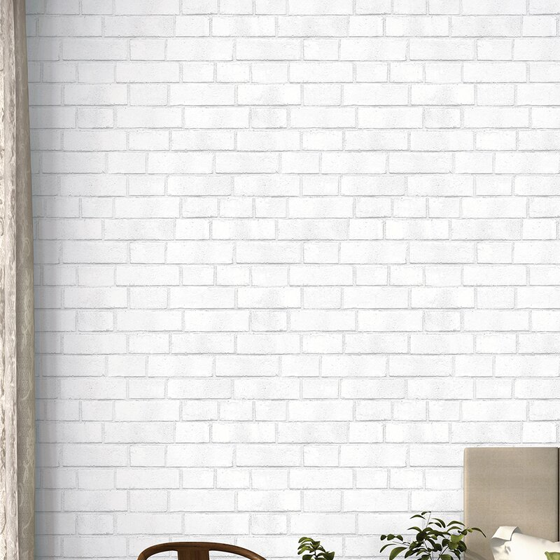Textured Removable 33 L X 20 5 W Brick And Stick Wallpaper Roll