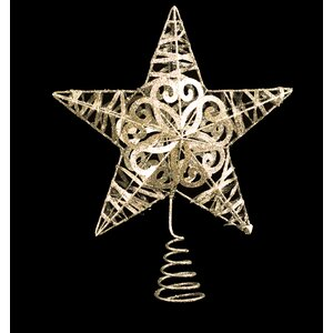 Metal Glittered Star Tree Topper (Set of 2)