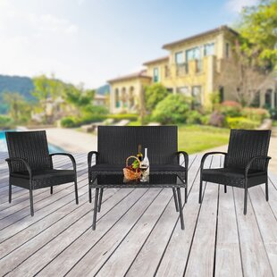 Naomi 4 Piece Rattan Sofa Set with Cushions