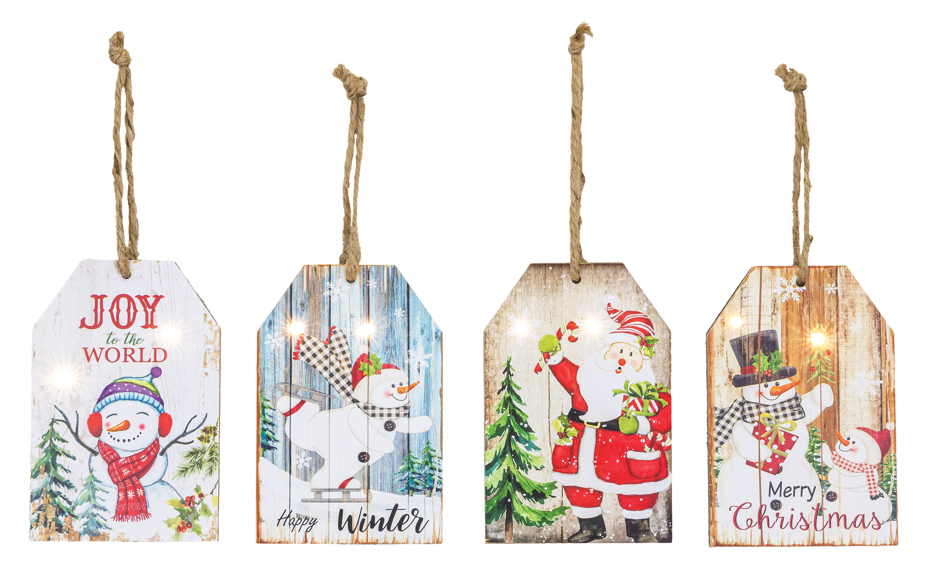 The Holiday Aisle 4 Piece Season S Joy Tag Holiday Shaped Ornament Set Wayfair