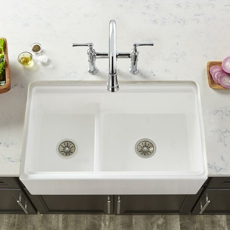 Fireclay 33 L X 20 W Double Basin Farmhouse Kitchen Sink With Aqua Divide
