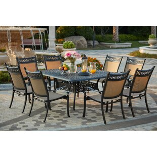 Darby Home Co Wabon Traditional 9 Piece Metal Frame Dining Set