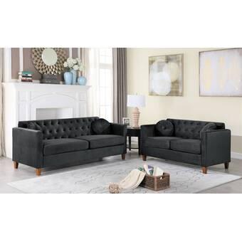 Everly Quinn Channel Stitch 3 Piece Living Room Set Wayfair