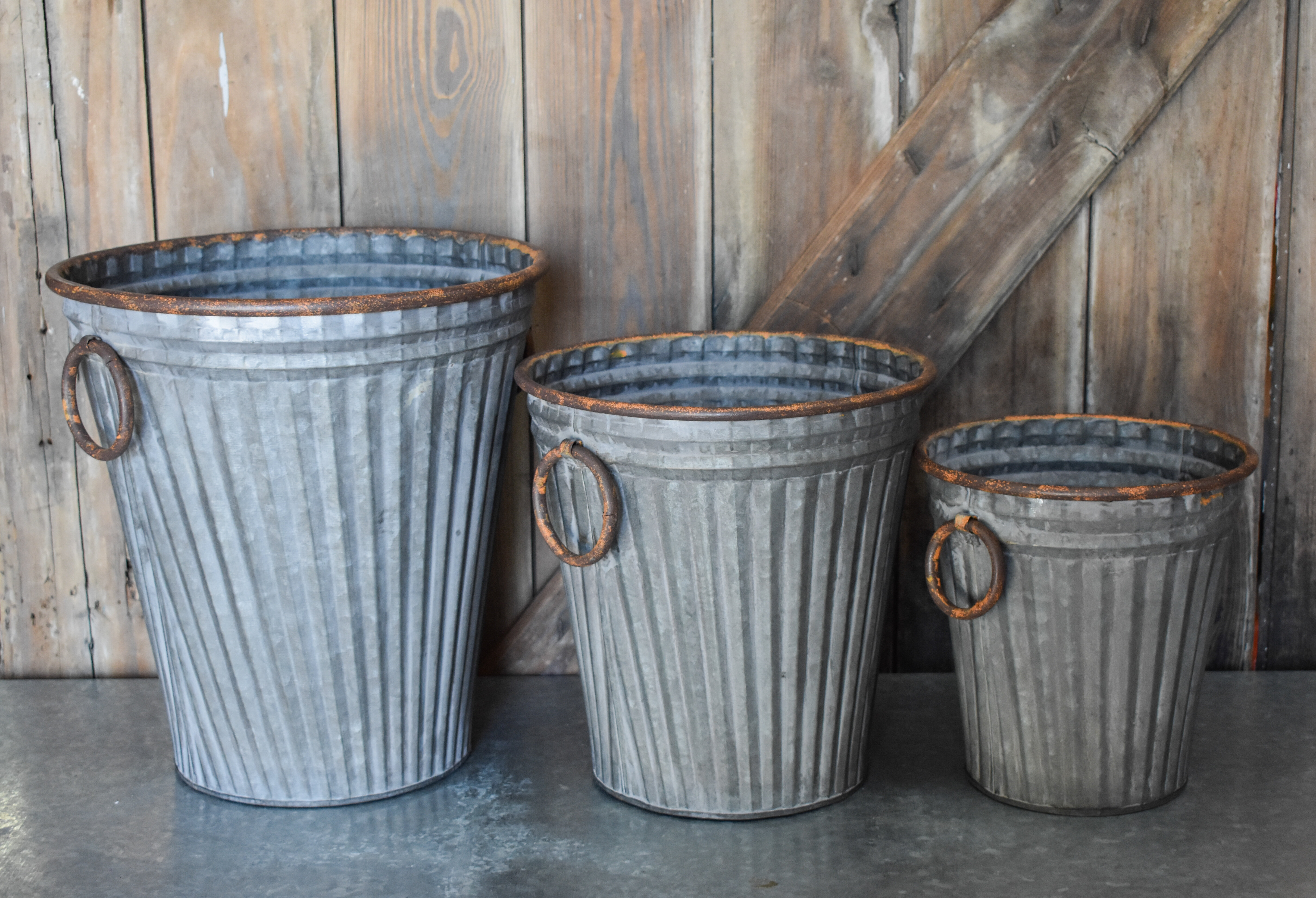 Laurel Foundry Modern Farmhouse 3 Piece Metal Bucket Set Wayfair