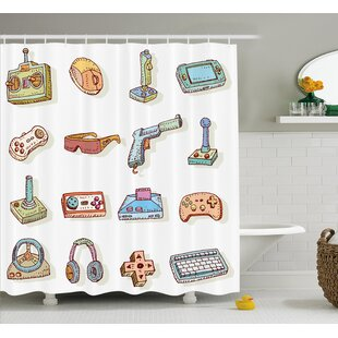 Beeler Games Retro 90's Artsy Shower Curtain + Hooks
