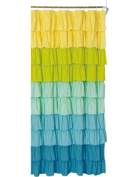 yellow and teal shower curtain.  Bungalow Rose Bournazel Ruffled Shower Curtain Reviews Wayfair