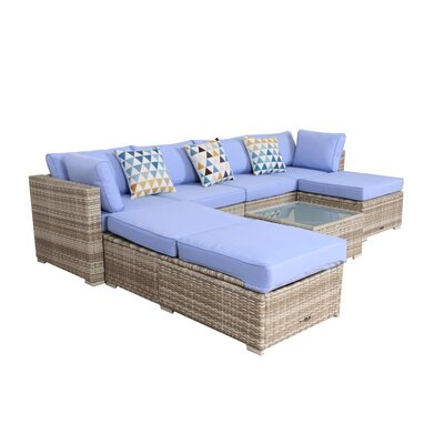 7 Piece Rattan Sectional Set with Cushions by Broyerk