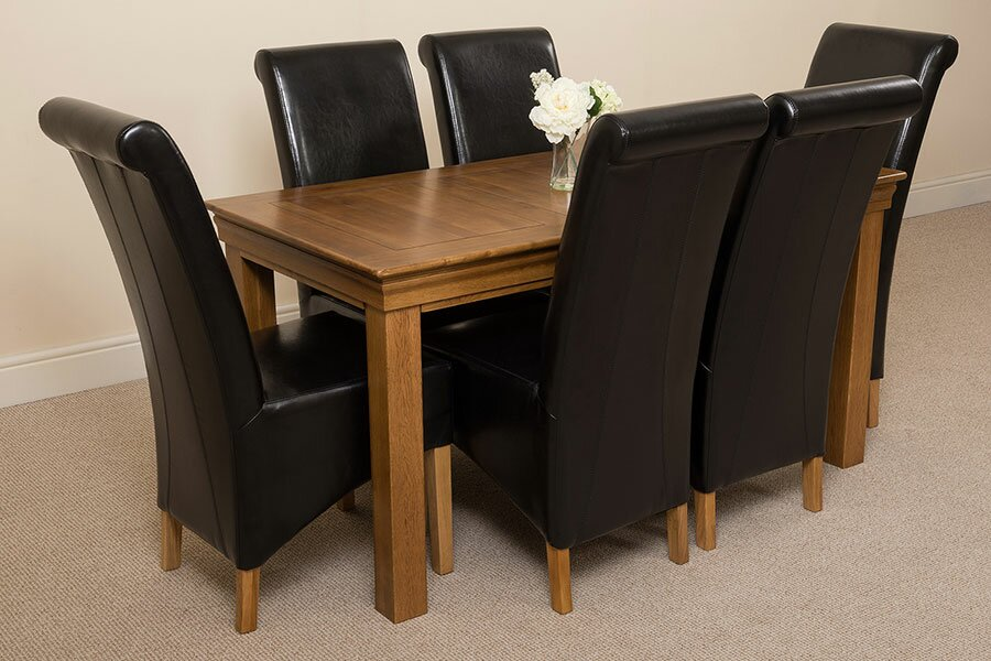Carmela Solid Oak Dining Set with 6 Montana Chairs