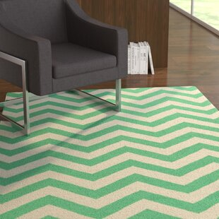 Searching for Lowery Winter White/Jade Chevron Area Rug By Ebern Designs