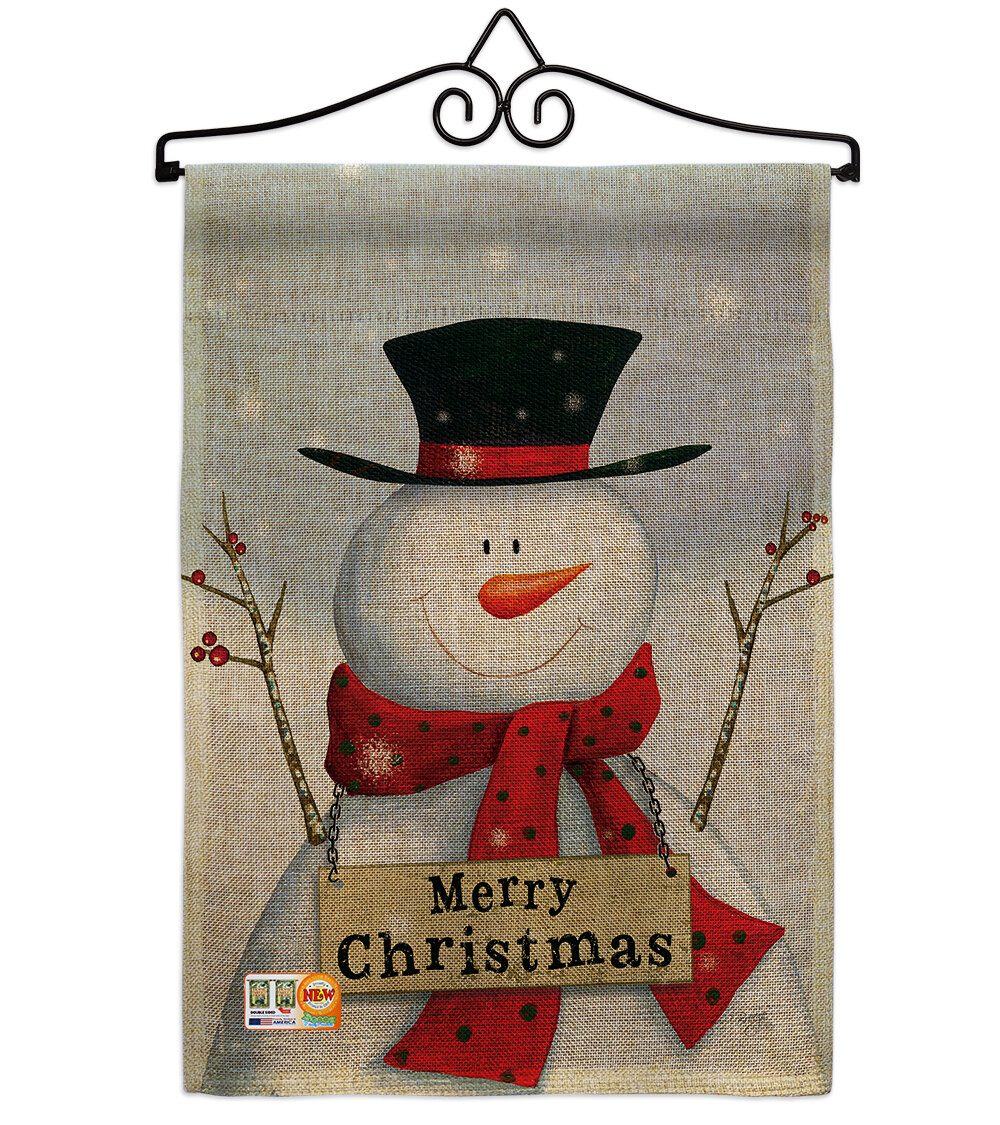 Breeze Decor Joyful Snowman Winter Christmas Impressions 2 Sided Burlap 19 X 13 In Garden Flag Wayfair