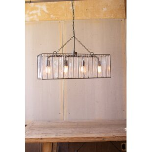 Yorba 4-Light Rectangle Pendant by Bungalow Rose