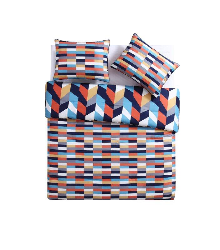 clairebella geometric reversible comforter set