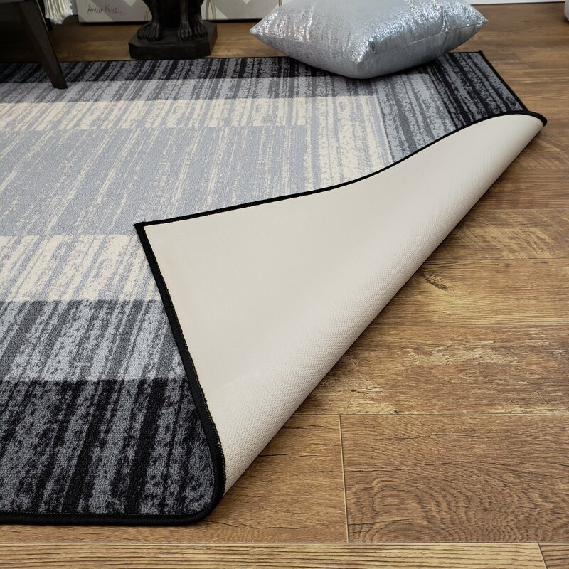 Rubber Backed Black Gray Area Rug