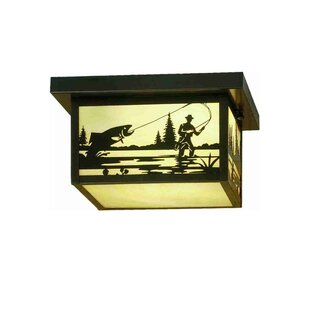 Meyda Tiffany Hyde Park Fly Fishing Creek 2-Light Flush Mount