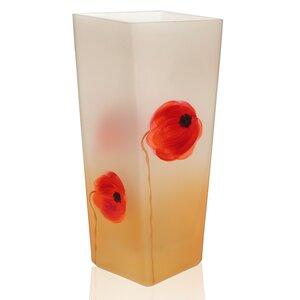 Hand Painted Glass Poppy Flower Series Vase